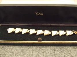 Vintage Enamel Bracelet Gold & White Retro Excellent Condition - $19.95
