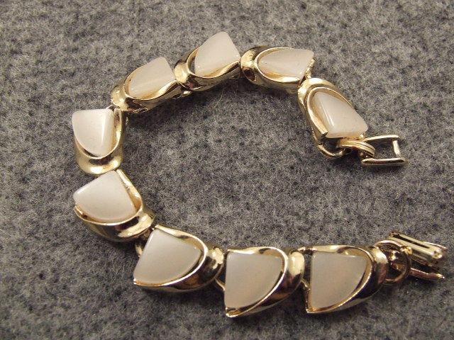 Vintage Enamel Bracelet Gold & White Retro Excellent Condition