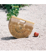 Summer Half Round Handmade Bamboo Beach Bag  - $29.99