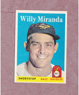 1958 Topps # 179 Willie Miranda Baltimore Orioles Nice Card Sharp - $4.99