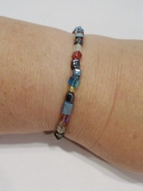 handmade multi-color square glass bead stretch bracelet - $11.00