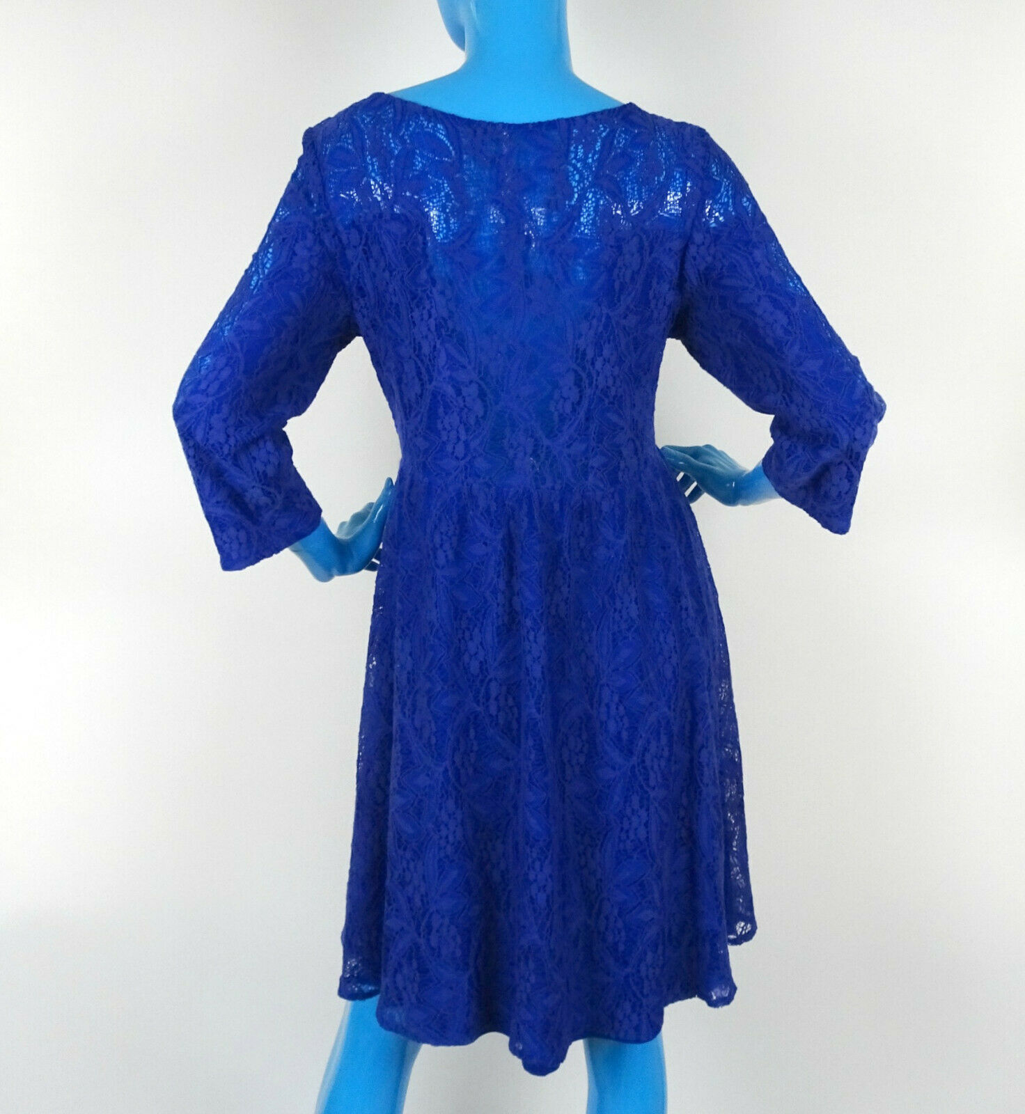 Free People Blue Lace Victorian Boho Dress L 12 14 Stretch 3/4 Sleeves Career