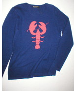 NWT New Womens Sweater Extra Soft Dark Blue Cashmere M Red Lobster Hanna... - $99.00