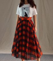 Fall Red Plaid Skirt Outfit Red Plaid Long Tulle Skirt High Waisted Plaid Skirt  image 13
