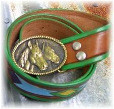 Brass Horse Heads Rail Halter Horse Show Belt & Buckle - $24.99
