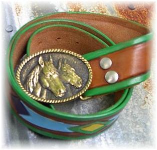 Brass Horse Heads Rail Halter Horse Show Belt & Buckle