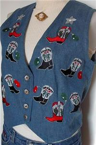 Blue Embroidery Western Boot Halter Horse Show Vest S