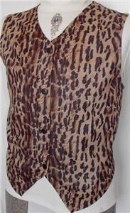 Leopard Tan Black Rail Western Halter Horse Show Vest L