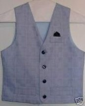 Boys Baby Blue Rail Western Halter Horse Show Vest 7 - $24.99