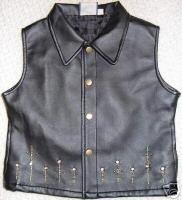 Girls Pleather Studs Western Halter Horse Show Vest 7/8
