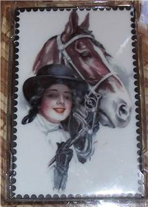 Porcelain Postcard Lady Bay Horse Ornament Christmas
