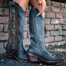 Women Vintage Mid-Calf Boots 2020 Woman Gladiator Tassels Women's Leather Mid... - $53.64+