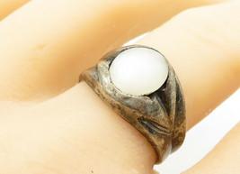 925 Sterling Silver - Vintage Cabochon Opal Dark Tone Band Ring Sz 10 - ... - $28.01