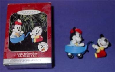 Hallmark Ornament Disney Baby Mickey & Minnie in Boat