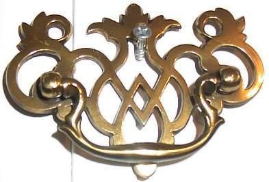 Vintage Polished Brass Lace Filigree Drawer Pull Knob