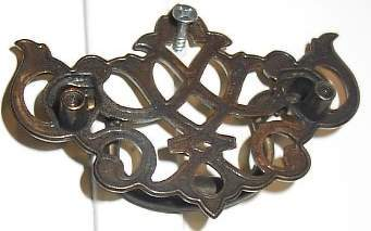 Nice Vintage Polished Brass Filigree Drawer Pull Knob