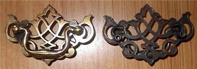 Nice Vintage Polished Brass Filigree Drawer Pull Knob