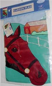 Quarter Horse Barn Fence Applique Garden Flag