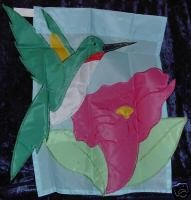 Hummingbird Pink Flower Applique Embroidery Garden Flag