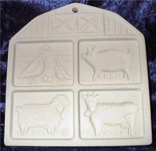 1994 Pampered Chef Cookie Mold Farmyard Friends Barn