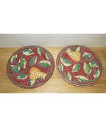 Pier 1 Mosaic Fruit red green pear leaves Salad luncheon 2 plate set lot... - $14.84