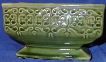 Vintage Green Retangular Planter Unmarked Swirl Design