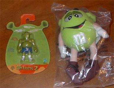 2004 Shrek Green M&M Plush w Bonus Boxer Shorts Shrek 2