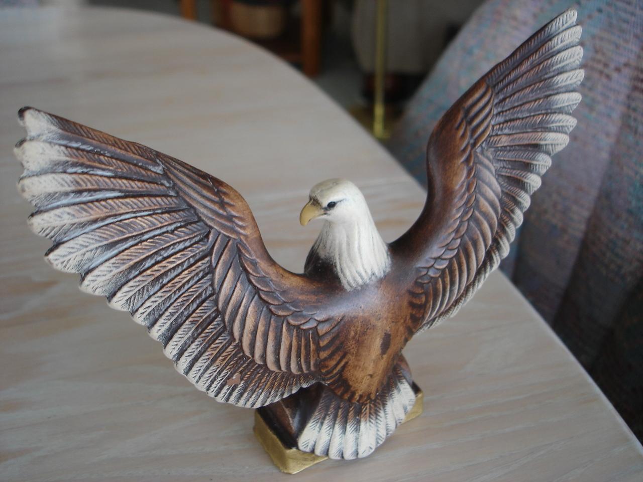Handpainted Ceramic Eagle Bird Figurine, Wings Spread