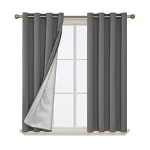 Deconovo Blackout Curtains Pair Grommet Curtains with Backside Silver fo... - $30.94