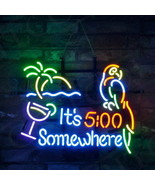 "It's 5 00 Clock Somewhere Parrot Palm Tree Bar Neon Sign Light Lamp 24""x20"" - $251.52 CAD"