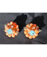 Vintage Earrings Retro Costume Jewelry Clip Ons Flower Coral Amber Blue - $24.95