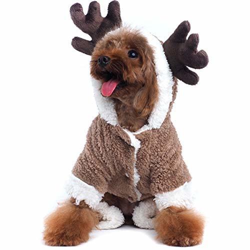 AOFITEE Pet Christmas Reindeer Costume Doggie/Cat Soft Comfy Coral Velvet Pajama