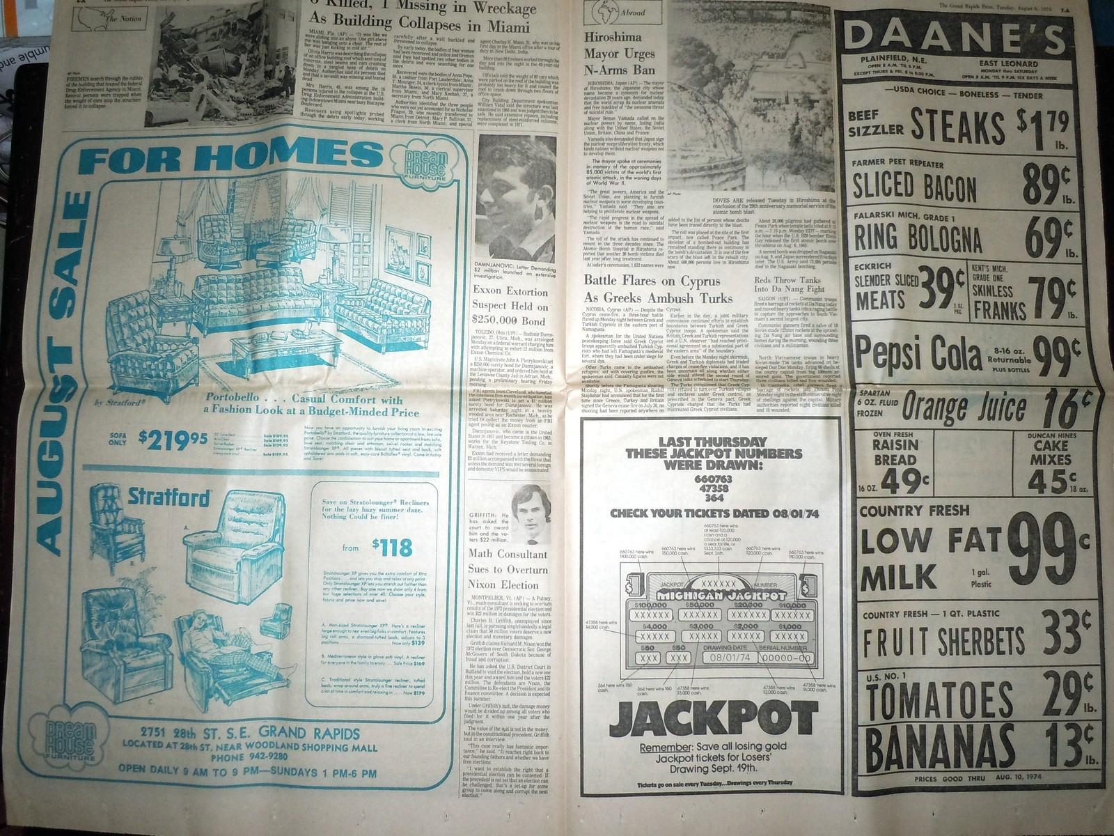 Vintage The Grand Rapids Press Nixon's Supporters Falling & Comics Aug 6 1974 image 4