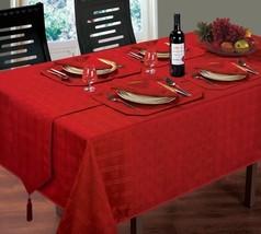 "Luxurious Christmas Woven Check Jacquard Red Table Cloth 52"" X 70"" & 4 Napkins - $16.58"