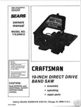 """Craftsman  10 """" Operators Manual 113.244512 - $10.88"""