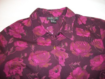 WOMEN STYLE & CO RED FLORAL SHIRT SIZE 10 12 LONG SLEVE