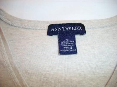 WOMEN LADIES ANN TAYLOR BEIGE SHIRT TOP M MEDIUM 3/4 SLEEVE
