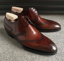 Handmade Men's Brown Leather Heart Medallion Dress/Formal Lace Up Oxford Shoes image 1