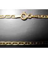 "14K Solid Italian Yellow Gold Mariner Link Neck Chain Necklace 16""  - $250.00"