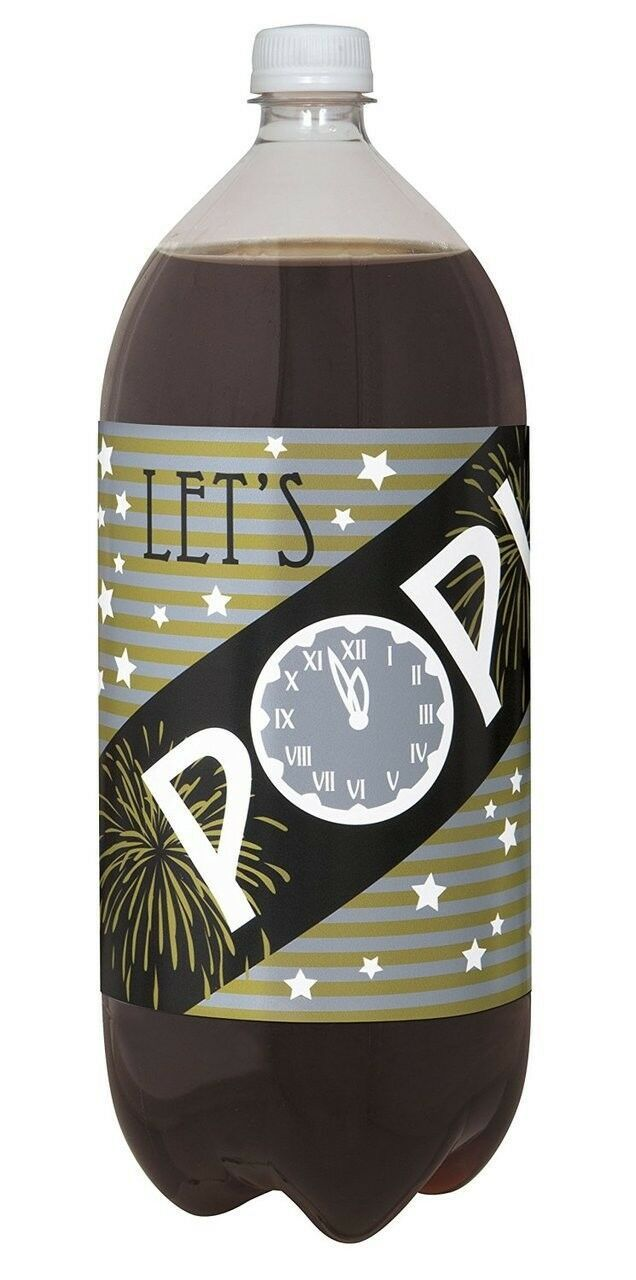New Years Eve Holiday Beverage Soda 2 Liter Bottle Labels 4 Ct Party