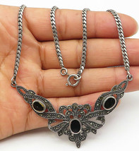925 Silver - Vintage Black Onyx & Marcasite Snake Link Chain Necklace - ... - $62.18