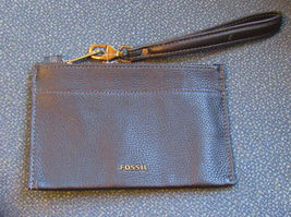 Fossil Womens Wristlet Wallet Top Zip Close Genuine 100%LEATHER Black Solid New - $74.90