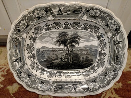 "1830's Clyde Scenery HUGE 17.75"" x 14.1"" x 2.25"" deep STAFFORDSHIRE Tran... - $295.00"