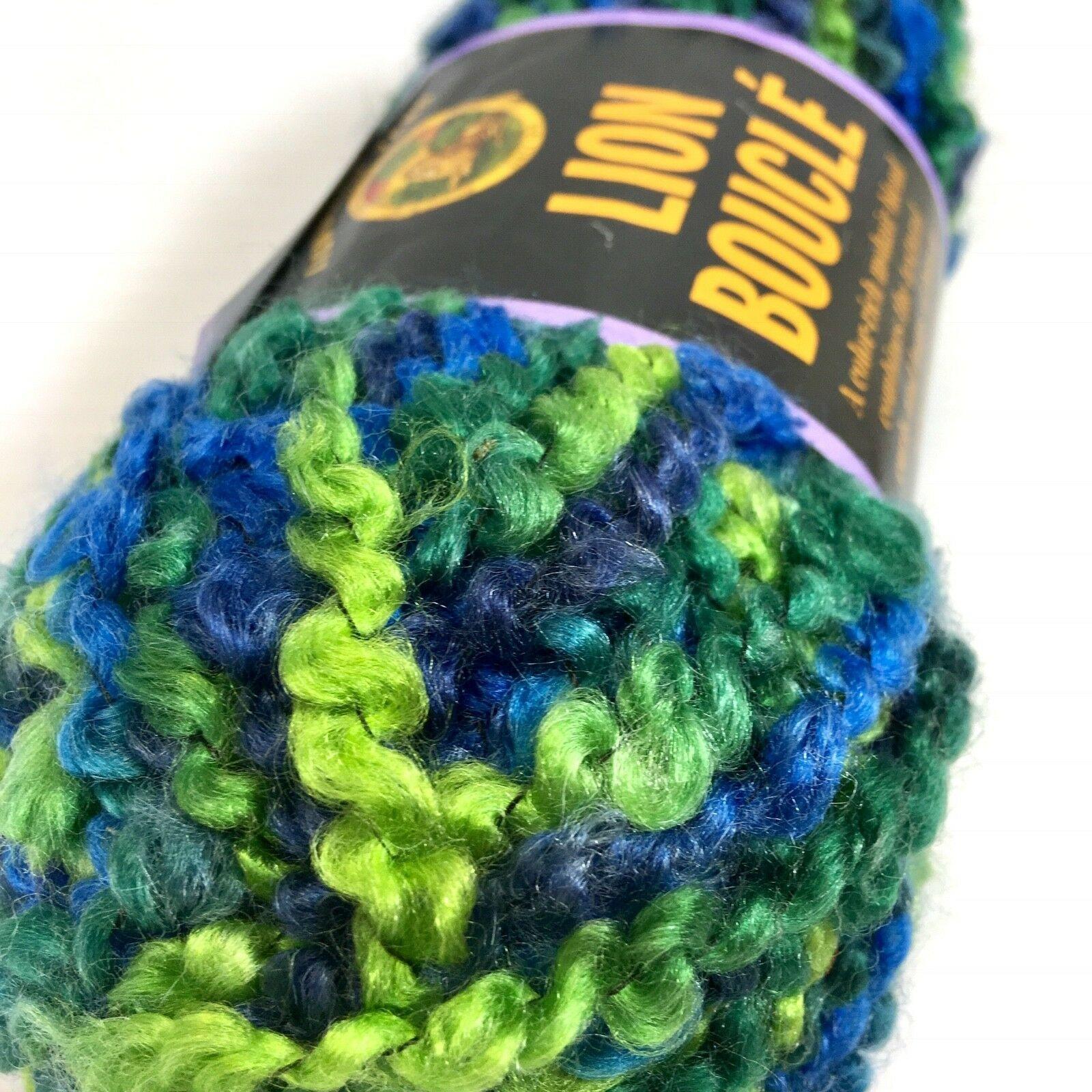 Lion Brand Lion Boucle Yarn Mohair Blend Lime Blue 2.5oz/70g 57yds / 52m 1 Skein