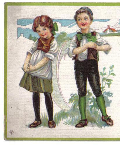 "Vintage Irish Kids St. Patrick's Day Postcard ""I'll Sing a Song for You My Love"""