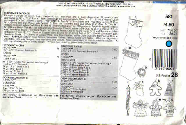 Vogue 581 Pattern tree Ornaments Stocking  Angel  gingerbread boy