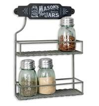 2 Tier Mason Jar Spice Rack Country Kitchen Rustic Style Decor NEW - $25.99