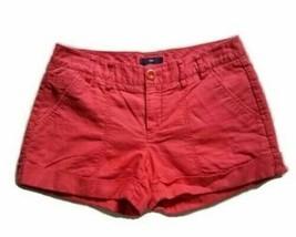 Gap 0 Shorts Red Cuffed Low Rise Linen Cotton Blend G14MP - $11.49