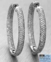 $7,100 Vintage Estate 14K White Gold 5.51ctw Diamond Hoop Earrings EGL USA - $3,367.85