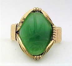 Green Agate Brass Wire Wrap Gemstone Ring 7 - $15.80